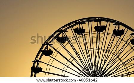 ferris wheel silhouette - stock photo