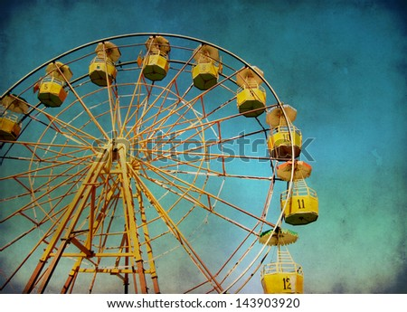 Ferris wheel with grunge effect - stock photo