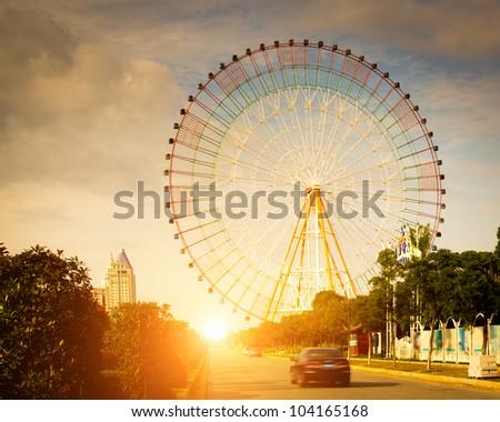 ferris wheel with sky background - stock photo