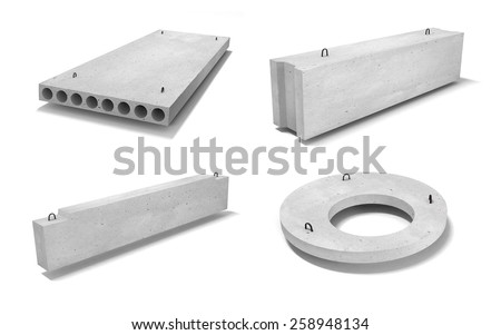 Ferroconcrete (reinforced concrete) items 3D/ isolated on white background - stock photo