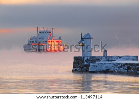 Ferry at Sunset in Moss, Norway - stock photo