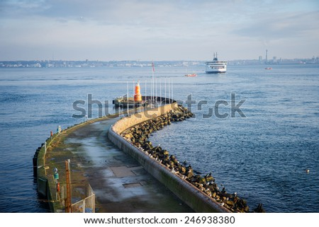 ferry between Helsingor and Helsingborg - stock photo