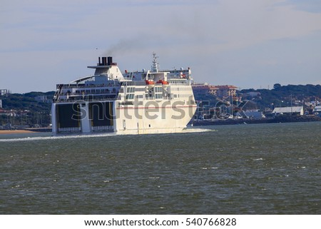 Ferry boat from Huelva to Canary Islands departing from Huelva port, Andalusia, Spain