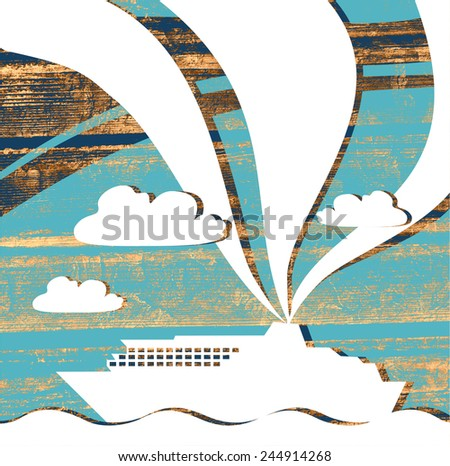ferry boat silhouette on wooden planks - stock photo