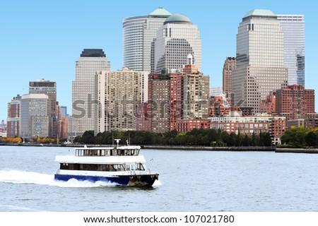 Ferry circle line around Manhattan island, New York, USA. - stock photo