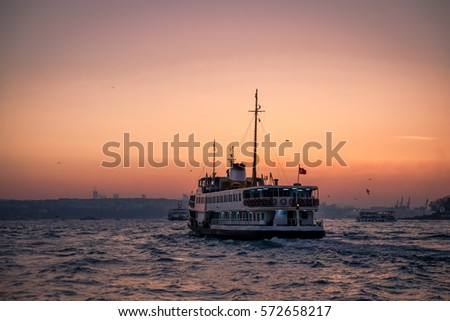 Ferry crossing from Europe to Asia in Istanbul