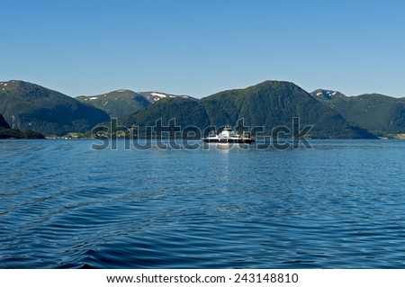 Ferry crossing the Sognefjord, Norway - stock photo