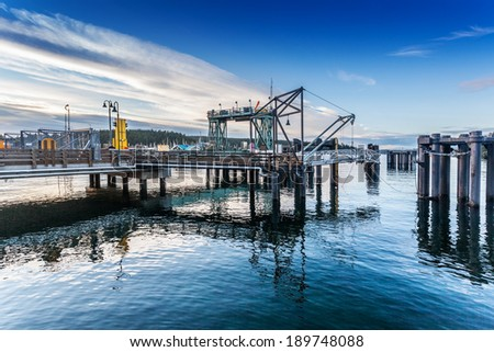 Ferry dock in Friday Harbor, San Juan Island, Washington on a summer evening, awaiting arrival of the last ferry of the day