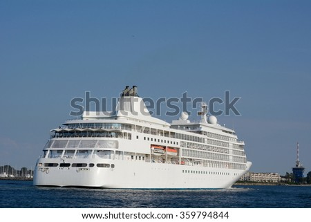 Ferry during the crossing of the sea - stock photo