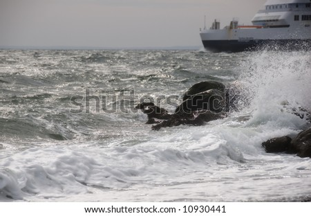 Ferry going out in rough sea