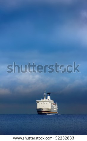ferry in the middle - stock photo