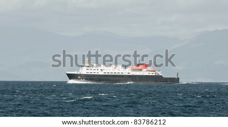 Ferry on the high seas - stock photo