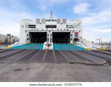 Ferry ready to load vehicles and passengers - stock photo
