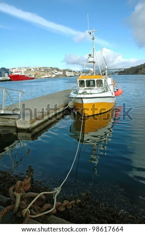 ferry ship in harbor - stock photo