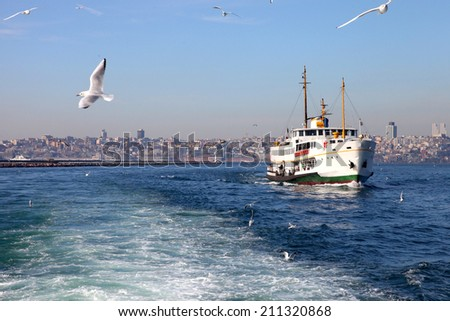 Ferryboat and the seagulls, symbols of Istanbul - stock photo