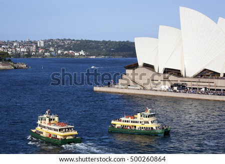 Ferryboats passing by in Sydney Harbour (New South Wales).