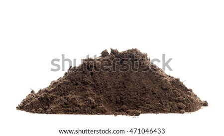 Fertile soil pile isolated over white background