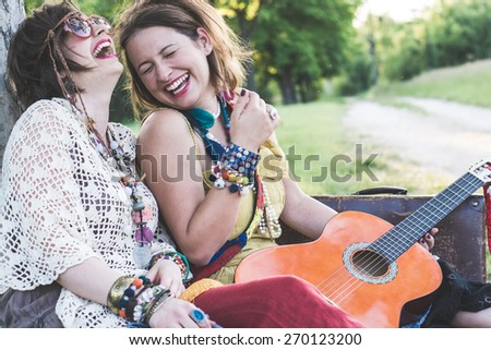 Festial people having fun together - stock photo