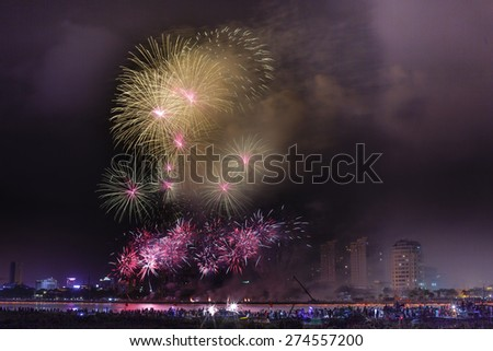Festival fireworks on the River Han-Da Nang