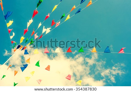 festival flags over the sky - stock photo