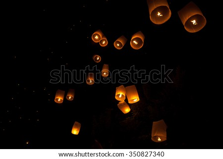 Festival Loi Krathong - full moon day in November - the holiday spirit of water and light / Loy Kratong / Asia, Thailand