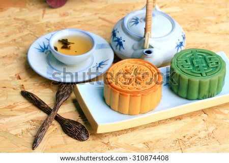 Festival moon cake and hot tea - Chinese cake