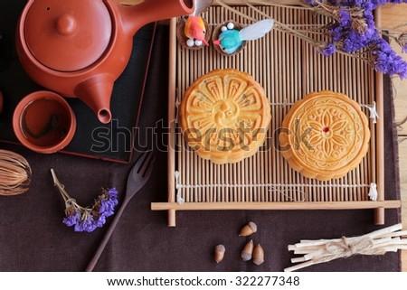 Festival moon cake   - china dessert - stock photo