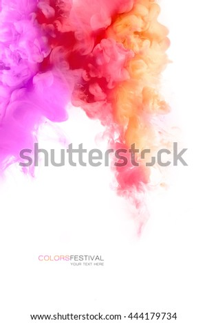 Festival of colors. Colorful ink in water isolated on white background with copy space. Paint texture. Color Explosion - stock photo