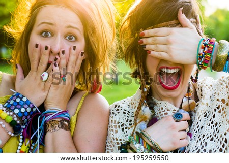 Festival people - young woman with facial expression - stock photo