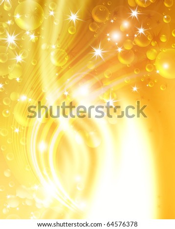 festive air bubbles, abstract golden background - stock photo