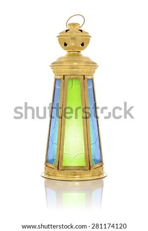 Festive Antique Ramadan Lantern Isolated on White Background - stock photo