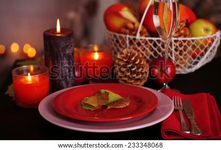 Festive autumn serving table close-up - stock photo