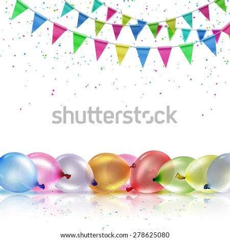Festive background with balloons and flags on a white background - stock photo