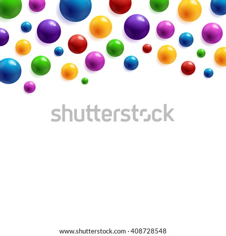 Festive background with colorful glossy balls. Perfect for cards, brochures, cover, flyers, banners, posters etc. - stock photo