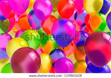 Festive balloons for birthdays and other celebration - stock photo