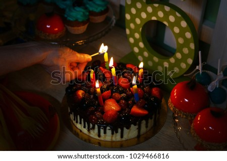 Festive Birthday Cake Fresh Berries Fruit Stock Photo 1029466816