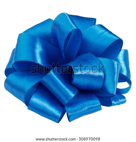 Festive blue gift bow isolated on white background cutout - stock photo