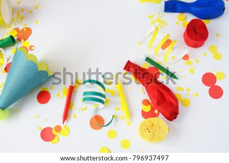 Festive bright decor for birthday on a white background. Top view. Celebration concept.