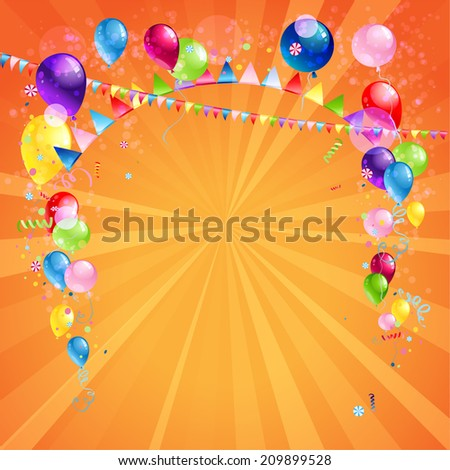 Festive card with balloons. Holiday background with place for text. Raster version. - stock photo
