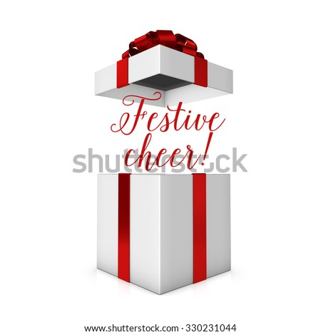 Festive cheer red and white present - stock photo