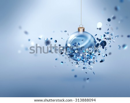 Festive Christmas background with glowing ball - stock photo