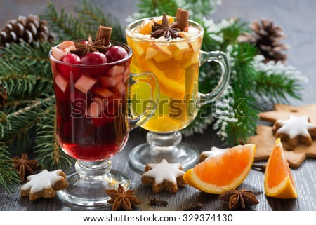 festive Christmas beverages, biscuits and spices, close-up - stock photo