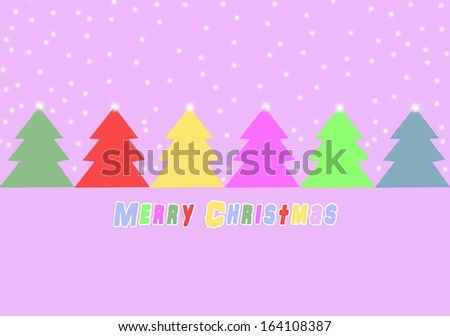 Festive christmas card with colored Christmas trees.