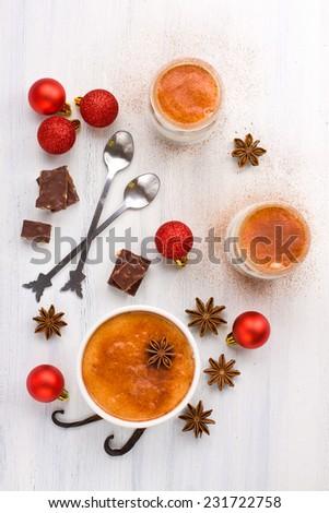 Festive Christmas composition with portions of delicious tiramisu - stock photo