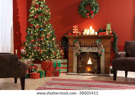 Festive Christmas interior - stock photo
