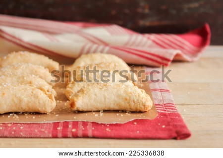 Festive Christmas mince pies in vintage rustic setting - stock photo