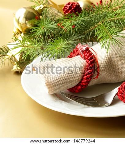 Festive Christmas table setting - stock photo