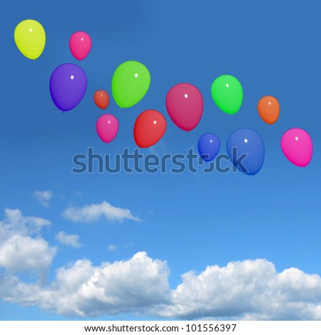 Festive Colorful Balloons In The Sky For Birthday Or Anniversary Celebrations