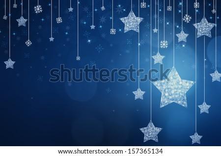 Festive dark blue Christmas background with stars - stock photo