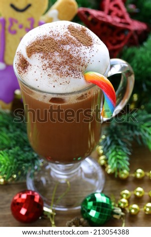 festive drink (chocolate, cocoa, coffee) with milk foam, Christmas Still Life - stock photo
